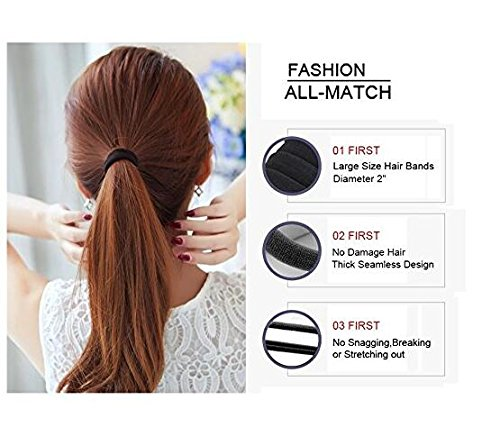 Black Thick Seamless High Elastic Cotton stretch Hair Ties Bands Rope Ponytail Holders Headband Scrunchie Hair Accessories No Slipping Snagging Breaking or Stretching Out 100pcs