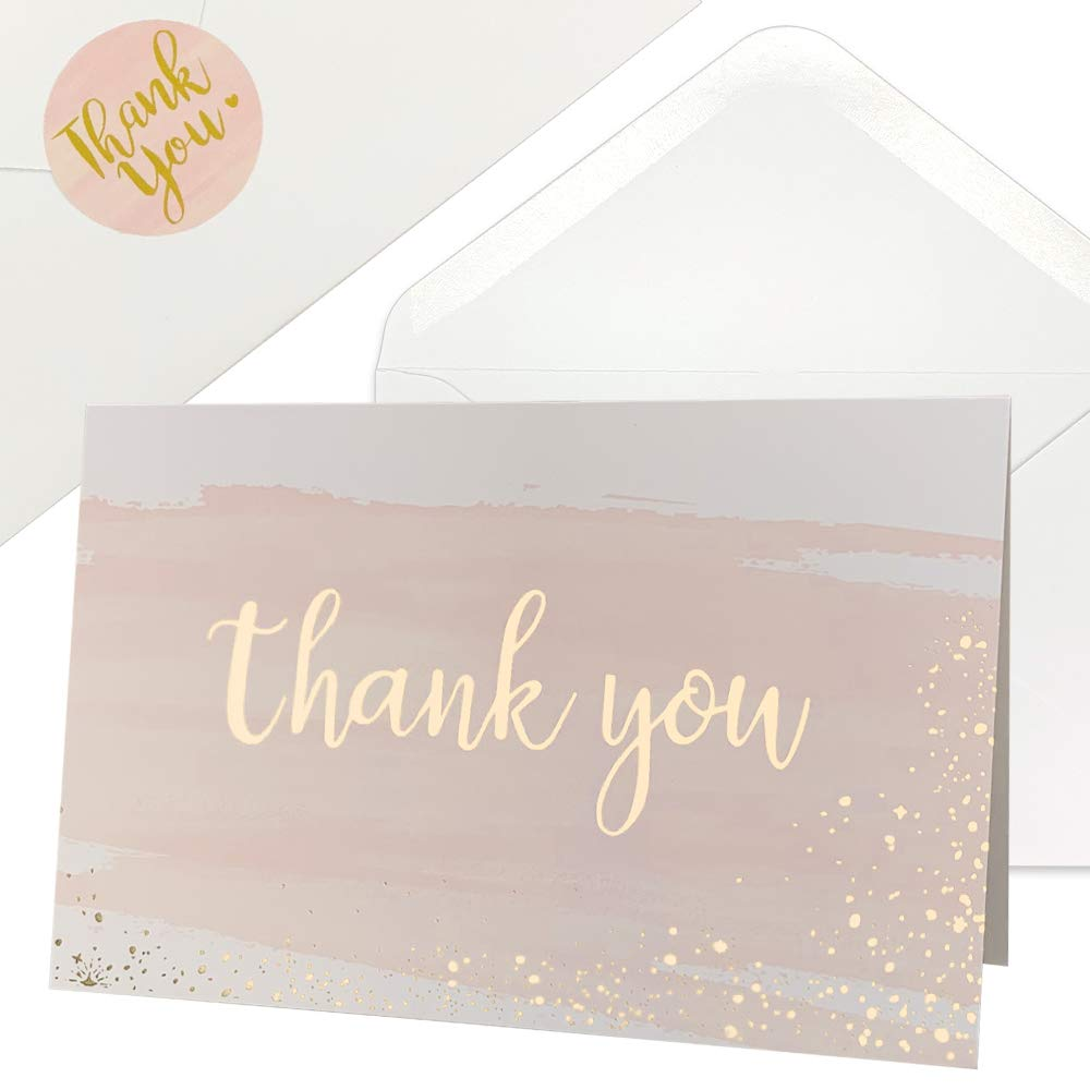 Thank You Cards for Baby Shower | Wedding | Bridal Shower | Business, 48 Blank Notes with Envelopes & Stickers, Gold Foil Watercolor Thank You Greeting Cards by IMMISE