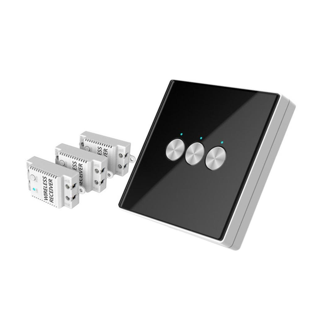 Nacome Wireless Wall Switch Lighting Control,3 x receivers,Remote Operation,Capacitive Glass Wireless Wall Switch (Black)