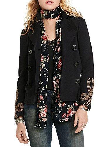 Polo Ralph Lauren Denim & Supply Ralph Lauren Womens Metallic Embroidered Pea Coat Black L