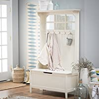 Wood Hall Tree Storage Bench With Flip Top And 5 Double Hooks, Top Mirror, Space Saver, Functional, Perfect For Entryway, Mudroom, Home Furniture, White Color + Expert Guide