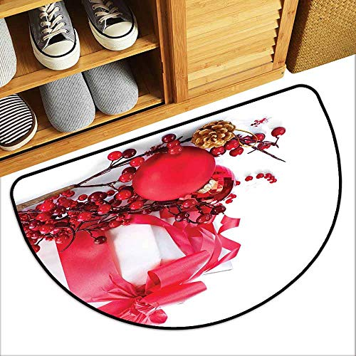 (DILITECK Semicircular Door mat Christmas New Year Box with Berries Pine Cone and Baubles End of The Year Party Theme Non-Slip Door mat pad Machine can be Washed W24 xL16 Red Gold White)
