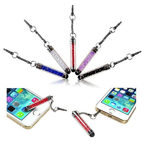 Insten Stylus (iPhone 6 Stylus, Insten 5-color Pack Crystal Mini Stylus with 3.5-mm Plug Cap compatible with H Samsung Galaxy S6/Galaxy S9/S9+ Plus/s6 Edge Apple iPhone 6 4.7 inch)