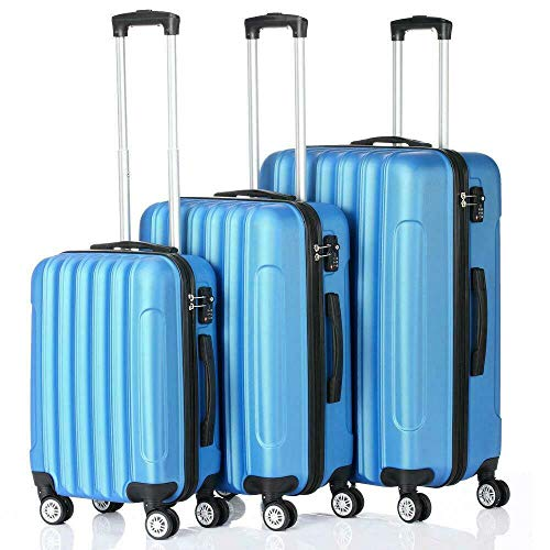 3Pcs Luggage Travel Set Bag w/TSA Lock ABS Trolley Spinner Suitcase (Blue)