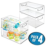 mDesign Baby Nursery Storage Organizer Bin for Food Pouches, Wipes, Diapers - Pack of 4, 8  x 6  x 14.5 , Clear