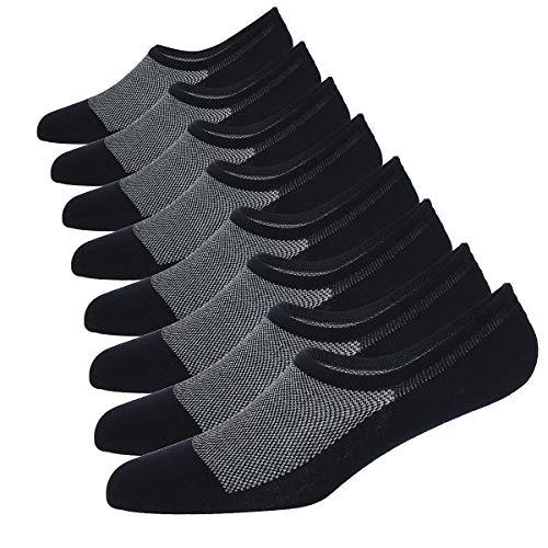 WANDER No Show Socks 8 Pairs Natural Cotton Thin Non Slip Low Cut Sock Size 6-12-Men&Women (8 Black, Sock Size 10-12) (Best Quality Mens Socks)