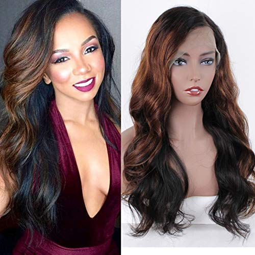 ZANA Ombre Human Hair Wigs Body Wave Ombre Brazilian 360 Lace Frontal Wigs for Black Women with 150% Density