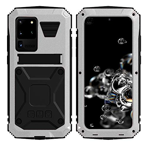 Simicoo Samsung S20 Ultra Metal Bumper Silicone Case Hybrid Military Shockproof Heavy Duty Rugged Defender case Built-in Screen Protector Stand Camera Lens Protector Cover for S20 Ultra (Sliver)