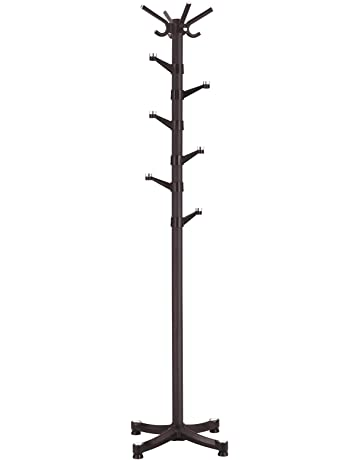 5c7fa9fdbd9 SONGMICS Coat Rack Hall Tree with 14 Plastic Swivel Hooks for Clothes Hats  Bags Scarves