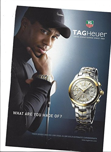 **PRINT AD** With Tiger Woods For Tag Heuer Two Tone Link Chronograph Watches