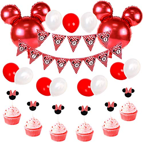 Minnie Mouse Birthday Decorations Red and Black for Girls, Happy Birthday Bunting Banner and Minnie Cupcake Toppers for Baby Shower, Minnie Party -