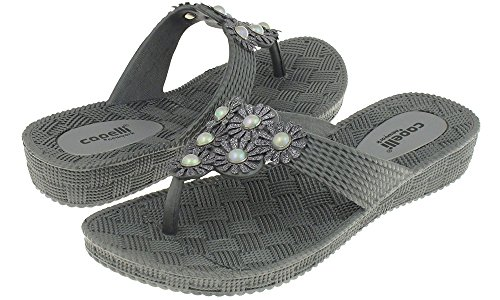 (Capelli New York Woven Textured Injected Hooded Thong with Glitter Faux Leather Flowers Ladies Flip Flop Pewter Grey 7)