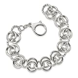 ICE CARATS 925 Sterling Silver Textured Circle Link 7.5 Inch Bracelet Fancy Fine Jewelry Gift Set For Women Heart