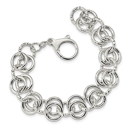 ICE CARATS 925 Sterling Silver Textured Circle Link 7.5 Inch Bracelet Fancy Fine Jewelry Gift Set For Women Heart by ICE CARATS