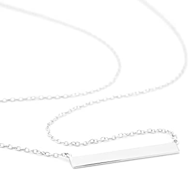 OneByOne N0011 4mm Wide Flat Bar Necklace r79DR