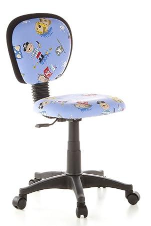 le dernier b3bac 5d3be hjh OFFICE 670180 chaise de bureau enfant, chaise enfant garçon KIDDY TOP  motif pirates sans accoudoirs, dossier ergonomique, réglable en hauteur, ...