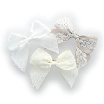 4 Ivory double ribbon Hair bow Beige hair bow ivory satin and organza hair bow