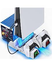 Suporte para PS5 com ventoinha de refrigeração e estação de carregamento de controlador duplo para console PlayStation 5 PS5, ventilador de refrigeração atualizado da OIVO com estação de ancoragem de carregamento e 12 compartimentos de jogo - cabo 2 em 1 incluído