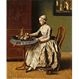 'Jean Etienne Liotard A Lady pouring Chocolate (La Chocolatiere) ' oil painting, 16 x 19 inch / 41 x 49 cm ,printed on Perfect effect canvas ,this High quality Art Decorative Prints on Canvas is perfectly suitalbe for Bathroom decoration and Home gallery art and Gifts