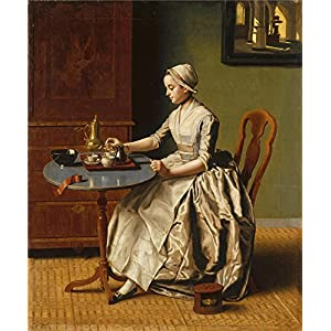 Oil Painting 'Jean Etienne Liotard A Lady Pouring Chocolate (La Chocolatiere)' 30 x 36 inch / 76 x 92 cm , on High Definition HD canvas prints is for Gifts And Home Theater, Kitchen And Powder decor