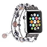 Apple Watch Band,GEMEK Fashion Pearl Natural Stone Bracelet Replacement iWatch Strap Band For Women Girls, Apple Watch series 3 Series 2 Series 1 All Version (Gray - 38mm)