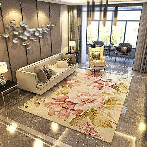 DEED Carpet-Simple and Modern Nordic Pastoral American Household Carpet Living Room Sofa Coffee Table Carpet Bed Bedroom Bed Bedding Entrance Hall Porch Water Absorption Quick-Drying,140200cm