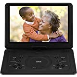 QKK 17.9 Inch HD DVD Player with AV Cable to Sync TV, Home CD Player with 15.4' Swivel Screen and 6 Hours Build-in Rechargeable Battery, Portable Region Free Kids Mini TV, Black