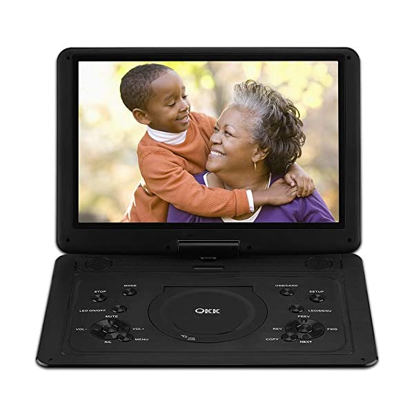 QKK 17.9 Inch HD DVD Player with AV Cable to Sync TV, Home CD Player with 15.4″ Swivel Screen and 6 Hours Build-in Rechargeable Battery, Portable Region Free Kids Mini TV, Black
