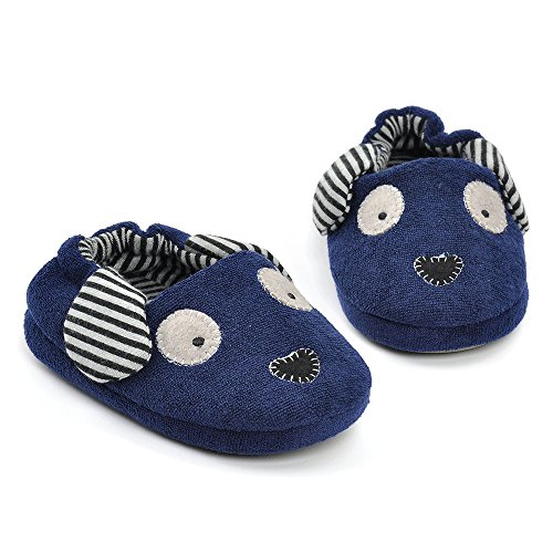 Image of Toddler Boys Girls Doggy Slippers Plush Warm Cartoon Puppy Indoor Bedroom Shoes, Navy US 6-7 M