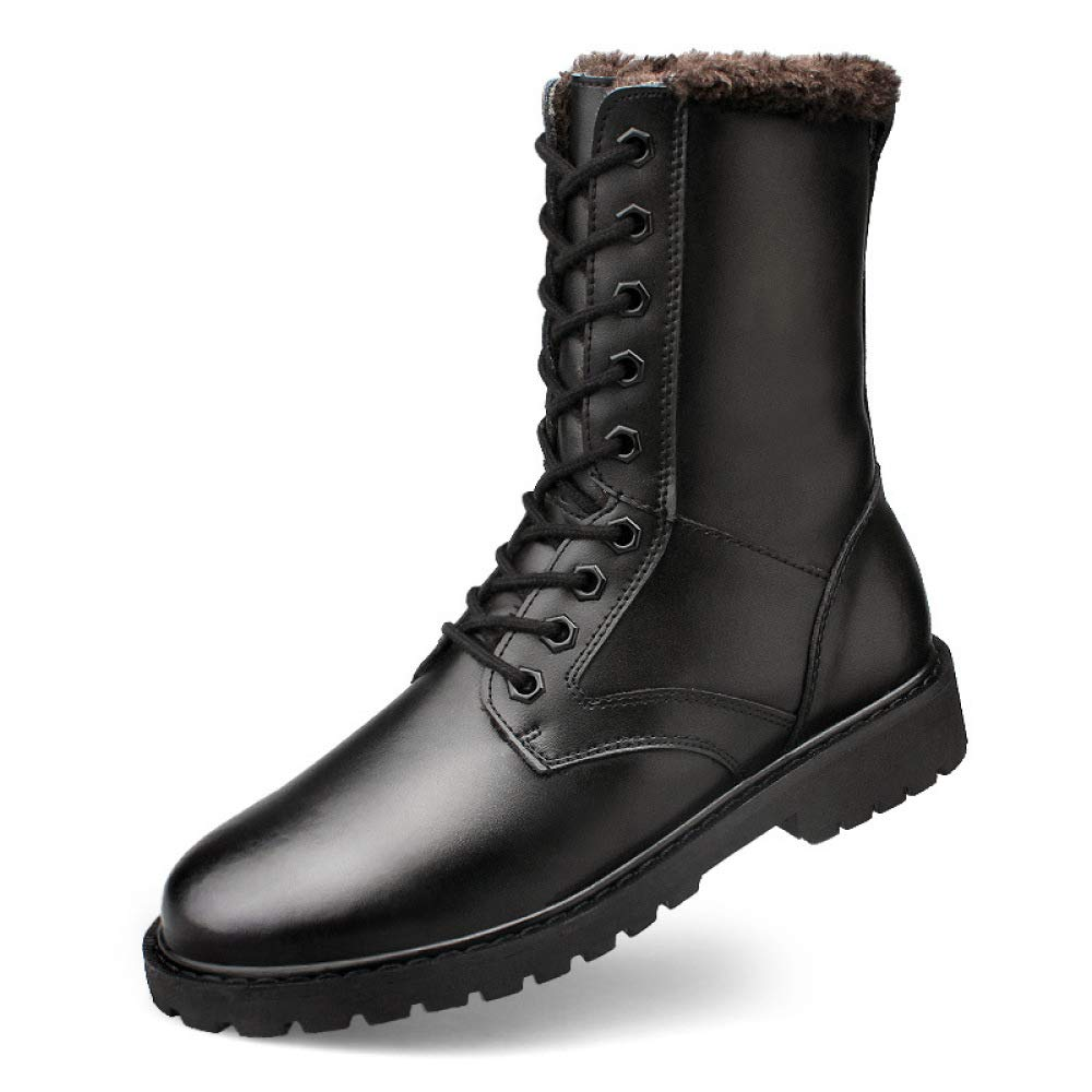 QIKAI Militärstiefel Für Für Für Männer Herbst- Und Winterstiefel Aus Leder Verschleißfeste Herren-Stiefeletten Große Plus Samt Stiefel 081f1b