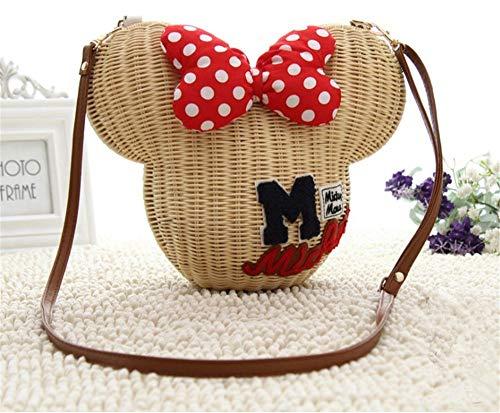 - Minnie Mouse Beach Bag Cartoon Women's Handbag Shoulder Bag Girls Rattan Straw Bag Vintage Casual Bucket Summer Wicker Bag