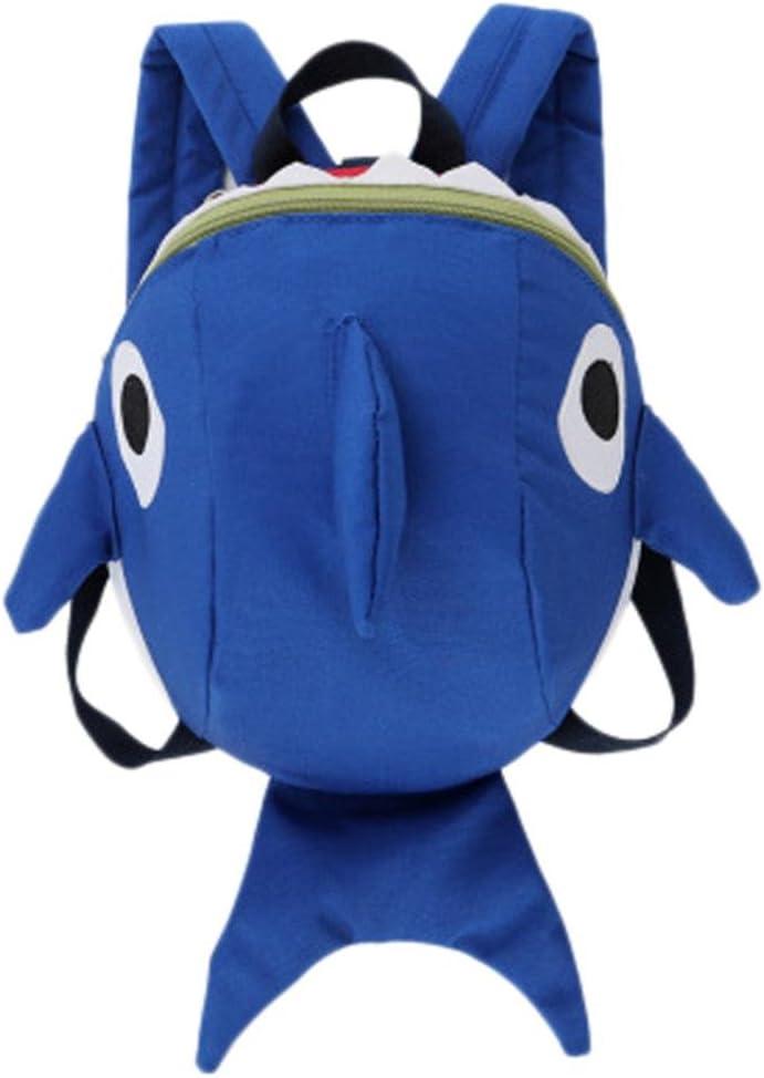 Mochila Escolar de 3D tiburón Infantil para niños y niñas y Estudiantes,QinMM Bolsa Dibujos Animados Backpack Animal (Azul)