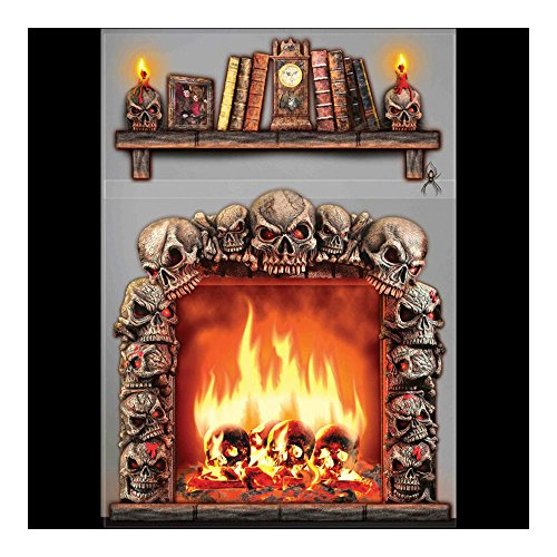 Halloween Prop Gothic 4x5 FIREPLACE SKULLS WALL DECORATION Halloween Haunted House Scene Setter -