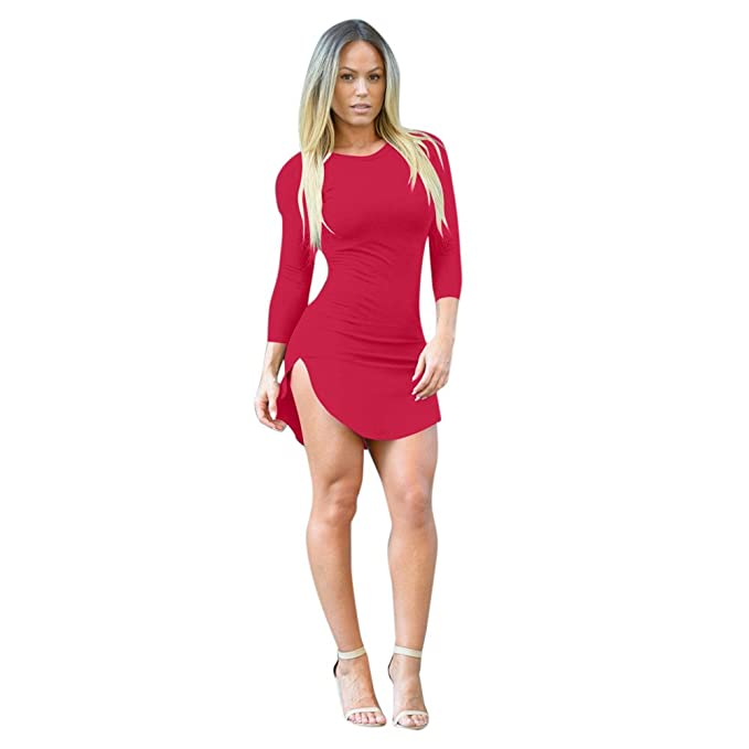 48018668331f1 Amazon.com: Fashion Women's Solid Color Tight-Fitting Irregular Long ...