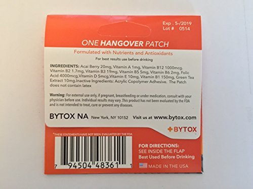 Bytox Hangover Patch 50 pack with fast and free shipping for all...