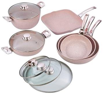 Bisetti BT-28661 - Batería de cocina (gres), color rosa: Amazon.es: Hogar