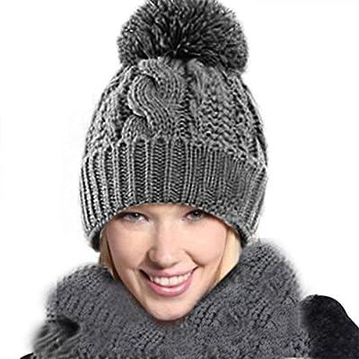 Winhurn Winter Lovely Warm Fashion Lady Knitted Wool Scarf + Cap 1 Set