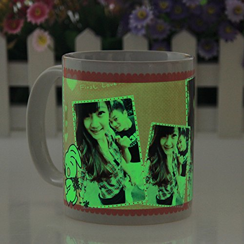 LIWUYOU Creative Personalized Custom Photo & Picture Ceramic Magic Coffee Glow in The Dark Mug Cup with Lip and Spoon, Green Girl Pattern