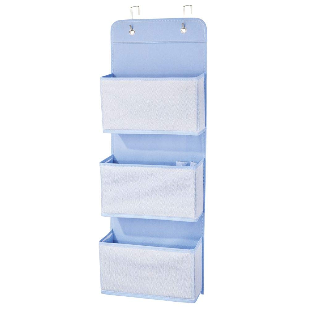 Hooks Included 3 Large Pockets for Child//Kids Room or Nursery mDesign Soft Fabric Wall Mount//Over Door Hanging Storage Organizer Blue 2 Pack Herringbone Print