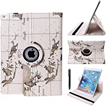 Eleoption New Map Design Auto Sleep/Wake Function 360 Degree Rotating Smart Case Cover for iPad Air 2 Gen Generation - (Supports Auto Wake/Sleep Function) With Free Stylus (EarthMap Lilac)