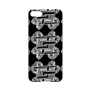 Premium High Impact Resistant Apple iPhone 5 Ultra Slim Hard Case - Glossy White Tribal Art Pattern on Black