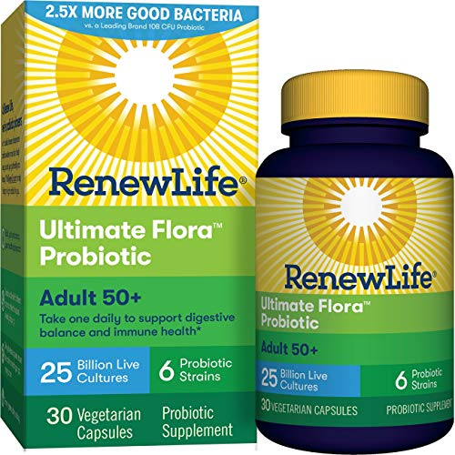 Renew Life Adult 50+ Probiotic - Ultimate Flora Probiotic, Shelf Stable Probiotic Supplement - 25 Billion - 30 Vegetables Capsules (Packaging May Vary)