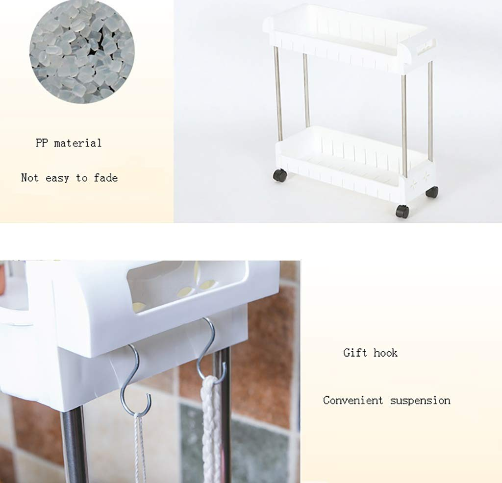 Tama/ño : 43 * 17 * 47CM CFstc Gap Slim Slide out Storage Tower Rack Blanco 2//3 Tier Unidad de estanter/ía m/óvil Organizer con Universal Wheels