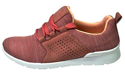 Formateurs De Femmes Ls0689 Chaussures Dames De Lacets De Jogging Des Marche De Krush Rose twaIWqTt