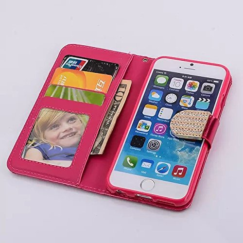 Iphone 6 Case,Iphone 6 Wallet Case,By Caseland Grid Pattern Bling Button Wallet Case For Iphone 6 4.7 Inch Case With Sling Rose red