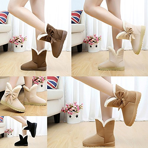 Snow Shoes Toe Women's Fur Coffee Flat Bow Daily Warm Ankle Round Boots Comfortable High Winter Eskimo B5qOpqw