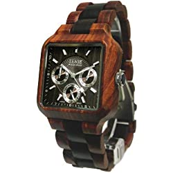 Tense Mens Multi-Eye Date Time Month Square Wood Watch B7305RD-W