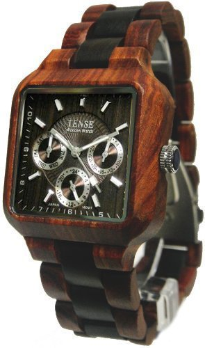 Tense Mens Multi-Eye Date Time Month Square Wood Watch (Rig Watch)