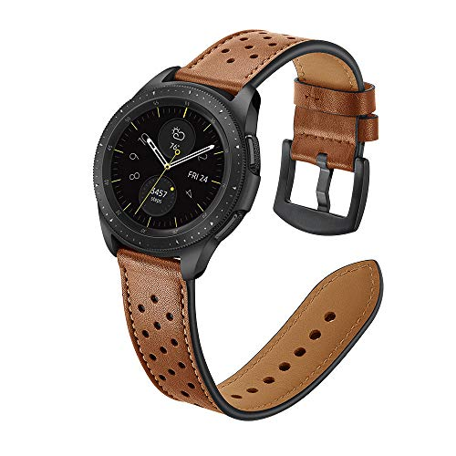 22mm Watch Band, 20mm Watch Band, OXWALLEN Leather Watch Band Quick Release Soft Strap fit for Samsung Watch 46mm,42mm, Galaxy Active, Gear S3 and Traditional Watch -Brown ()