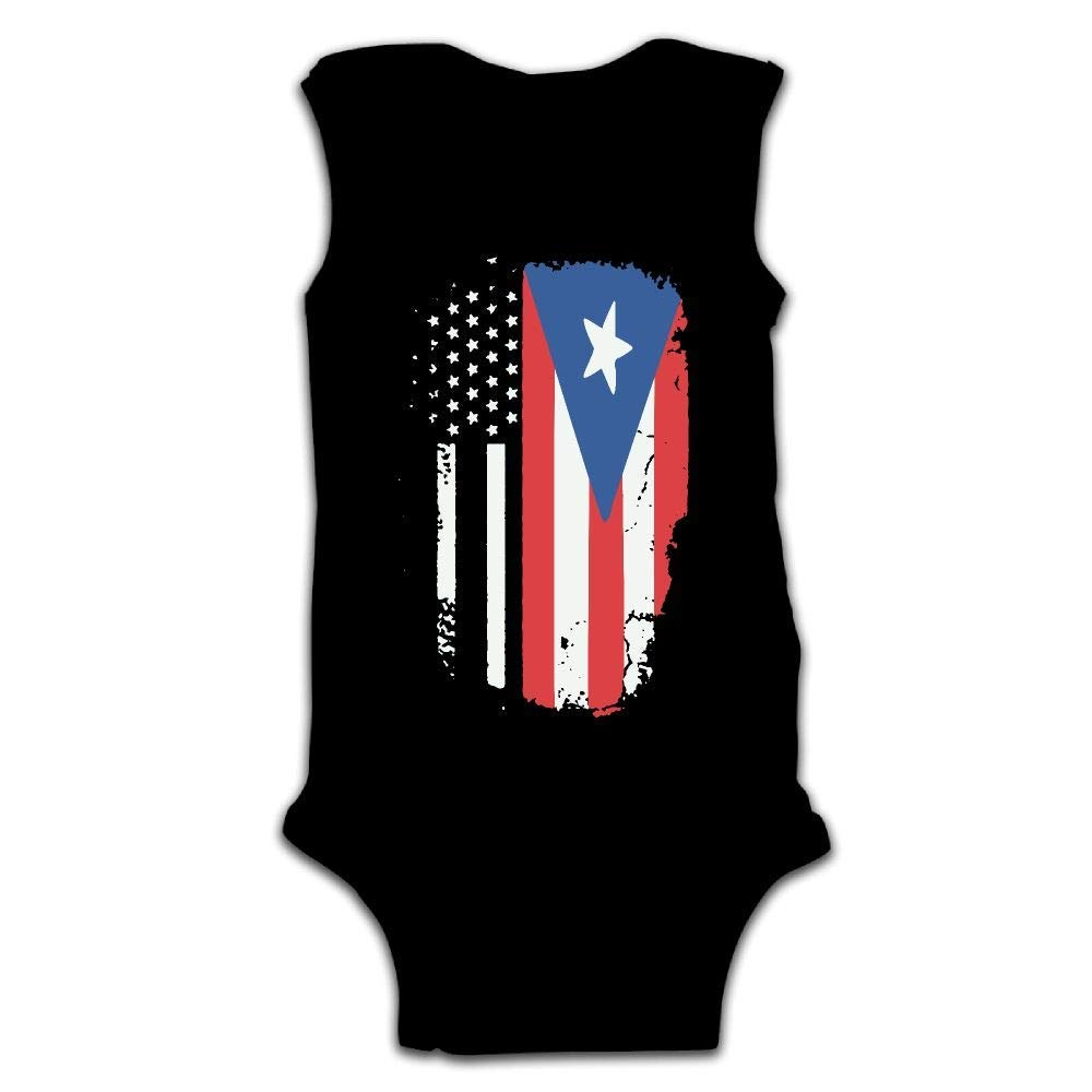 caldocaey Newborn Infant Baby Boys Girls American Puerto Rico Flag Sleeveless Crawling Jumpsuit Rompers